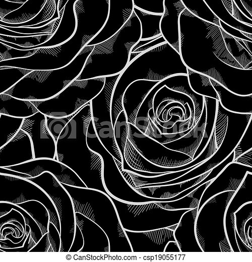 black and white seamless pattern in roses with contours. - csp19055177