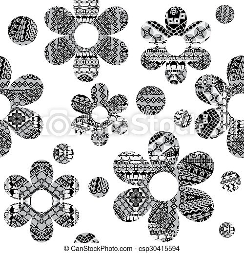 Black and white seamless pattern with ethnic motifs - csp30415594
