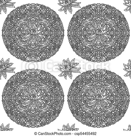 Black And White Seamless Pattern With Lotus Flowers Mandala