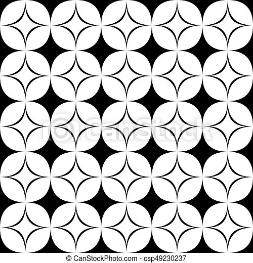 Black And White Seamless Star Pattern   Geometrical Monochrome Vector  Background Design From Curved