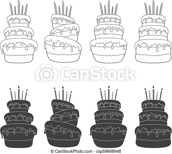 Black And White Set Of Illustrations With A Birthday Cake Isolated Vector Objects Black And White Set Of Illustrations With Canstock