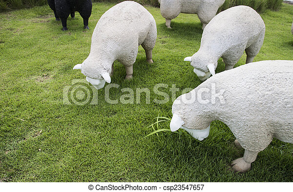 black and white sheep statue - csp23547657