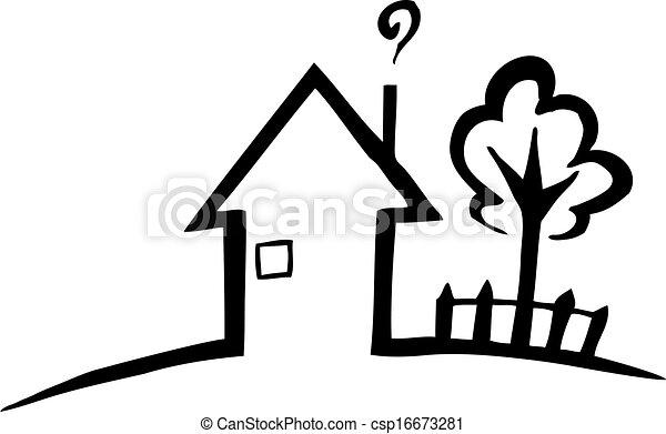 Black And White Silhouette Of A Small House   Csp16673281