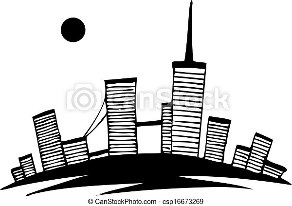 Line Art City : Black and white silhouette of city vector simple drawing clip