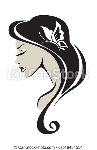 Black and white silhouette of the girl csp19484554