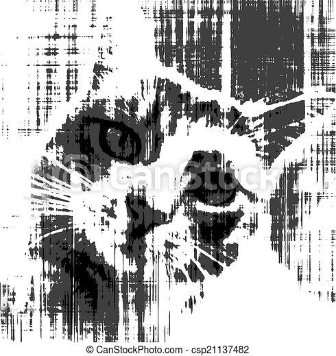 Black and white sketch of sad cat - csp21137482