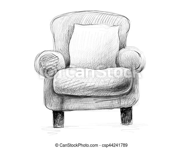 Excellent Black And White Sketch Pencil Drawing Of An Armchair With A Pill Pdpeps Interior Chair Design Pdpepsorg