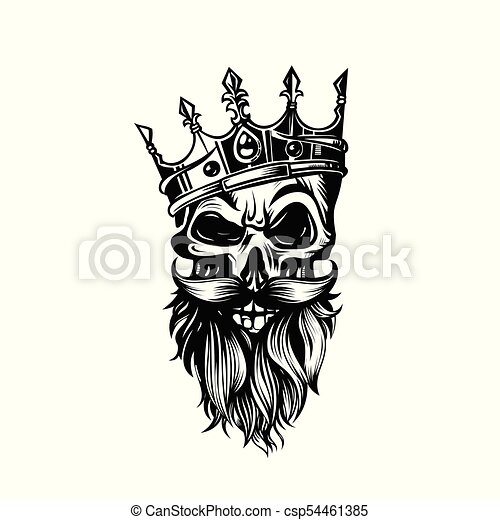 Black And White Skull In Crown With Beard Vector Illustration