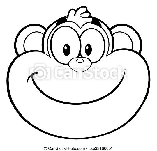 Black And White Smiling Monkey Face