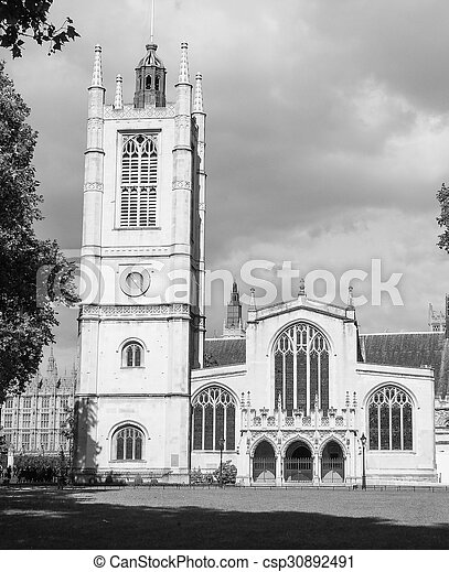 Black and white St Margaret Church in London - csp30892491