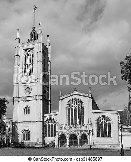 Black and white St Margaret Church in London - csp31485897