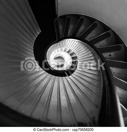 Black and White Staircase in Lighthouse - csp70658200