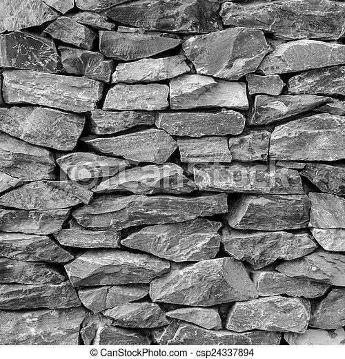 black and white stone wall - csp24337894