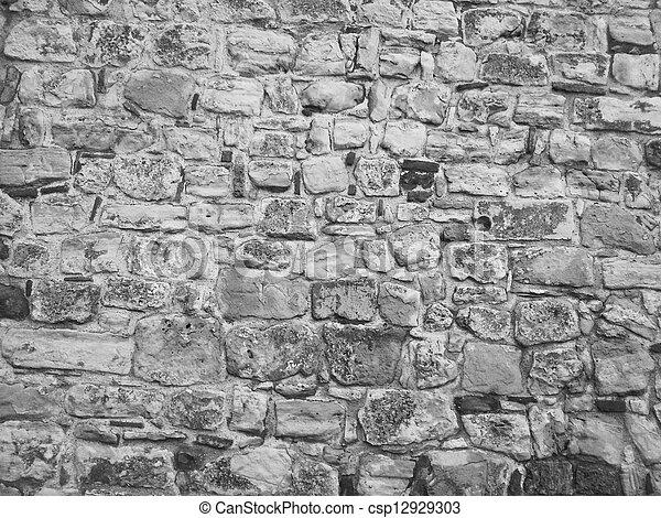 Black and white stone wall - csp12929303