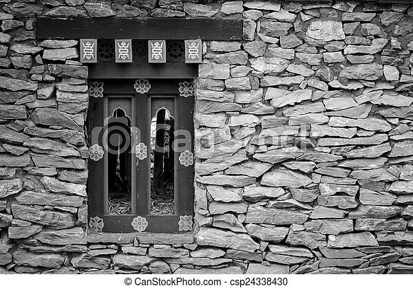 black and white stone wall - csp24338430