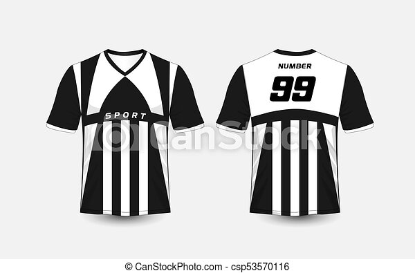 T Shirt Design Line Art : Black and white stripe pattern sport football kits jersey