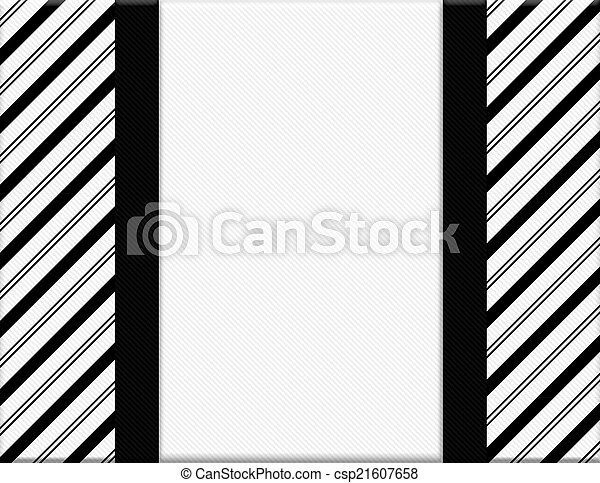Black And White Striped Frame With Ribbon Background With Center For