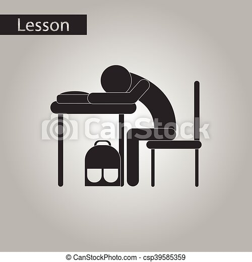 Clipart Vector of black and white style icon of student sleeping