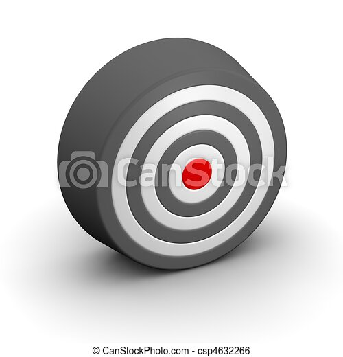 Black and white target with red center. 3d rendered illustration. - csp4632266