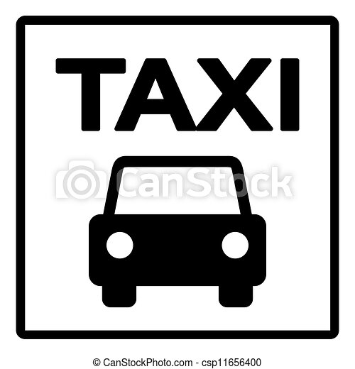 black and white taxi sign black silhouette of taxi cab on. Black Bedroom Furniture Sets. Home Design Ideas
