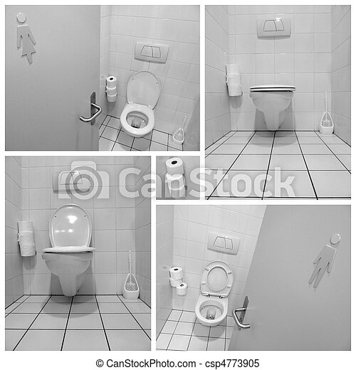 Black and white toilets for men and ladies - csp4773905