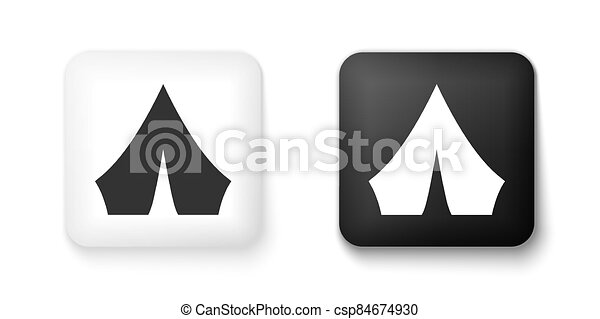 Black and white Tourist tent icon isolated on white background. Camping symbol. Square button. Vector - csp84674930