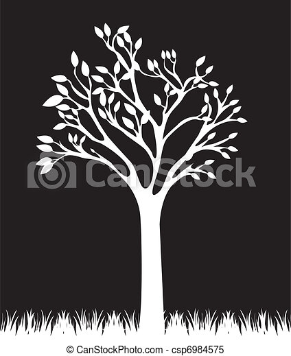 Black And White Tree Vector Clipart Csp6984575