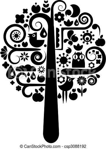 Black and white tree with ecological icons - csp3088192