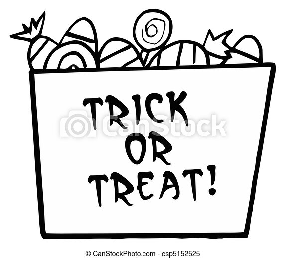 Black And White Trick Or Treat Bucket Of Candy Clipart Vector