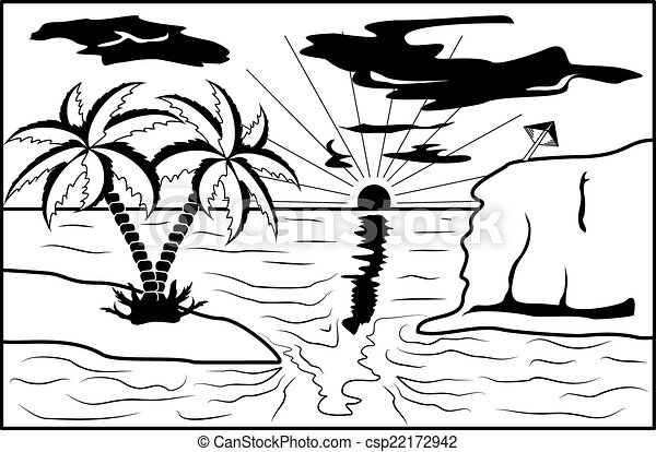 Black and white tropical landscape - csp22172942