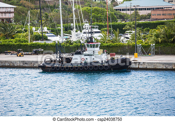 Black and White Tugboat at Dock - csp24038750