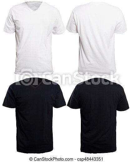 Black And White V Neck Shirt Mock Up
