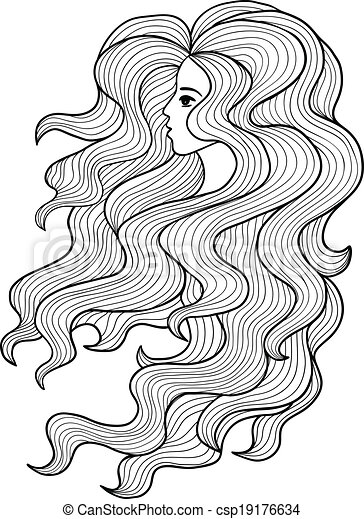 Black And White Vector Girl With Long Curly Hair