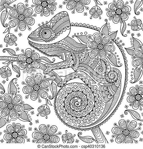Black and white vector illustration with a chameleon in ethnic patterns on the flowering branch. It can be used as  coloring antistress for adults  children - csp40310136