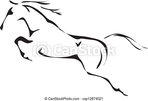 black and white vector outlines of jumping horse - csp12874021
