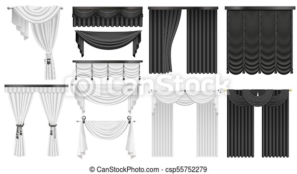 Black And White Velvet Silk Curtains Draperies Set Interior Realistic Luxury Decoration Design