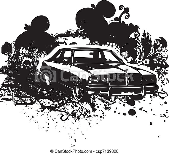 Black and white vintage car csp7139328