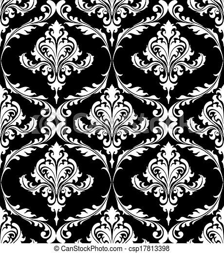 Black and white vintage damask pattern csp17813398