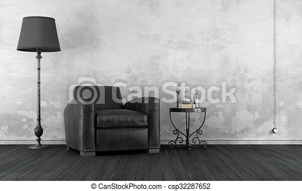 Black and white vintage room - csp32287652
