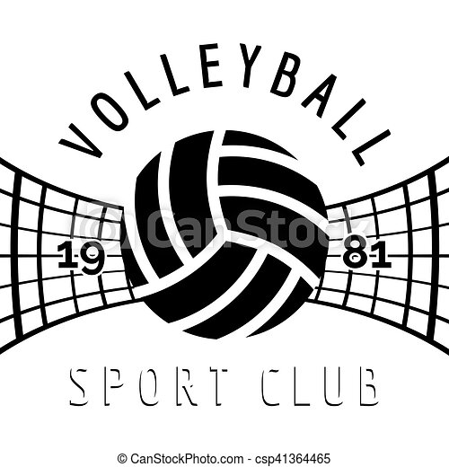 black and white volleyball emblem isolated on white vector clip rh canstockphoto ca