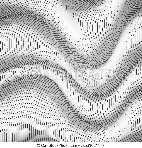 Black and white wavy stripes abstract background - csp31681177