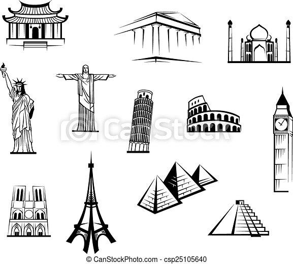 Black and white worldwide landmarks set - csp25105640