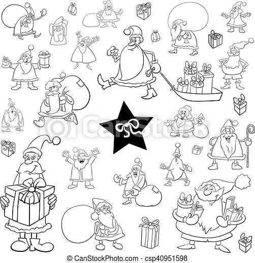 Black and white xmas cartoon set csp40951598