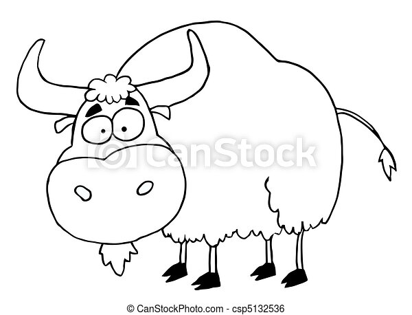 Black And White Yak Cartoon Character Animal Yak
