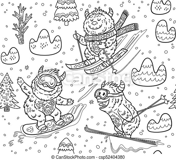 Black and white yeti skiing in the mountain seamless pattern  Vector  illustration