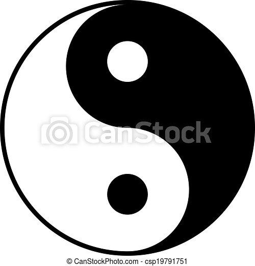 Black and white yin-yan symbol - csp19791751