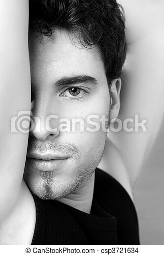 black and white young man face portrait - csp3721634