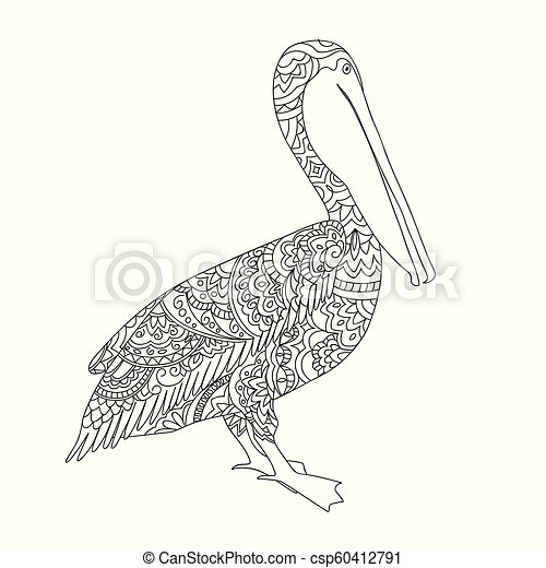 black and white zen tangled patterned pelican  for adult coloring - csp60412791