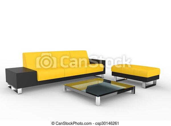 Black And Yellow Modern Sofa