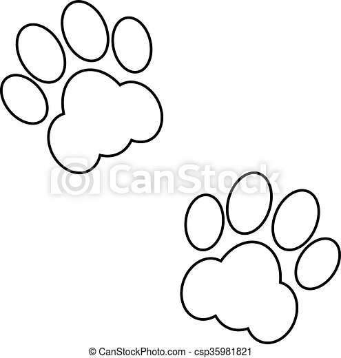 black animal footsteps couple black and white animal footsteps rh canstockphoto com